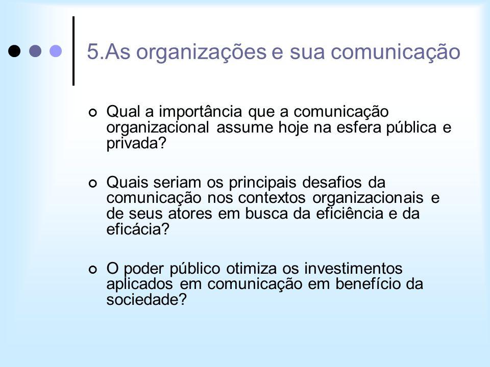 5.As organizações e sua comunicação Qual a importância que a comunicação organizacional assume hoje na esfera pública e privada? Quais seriam os princ