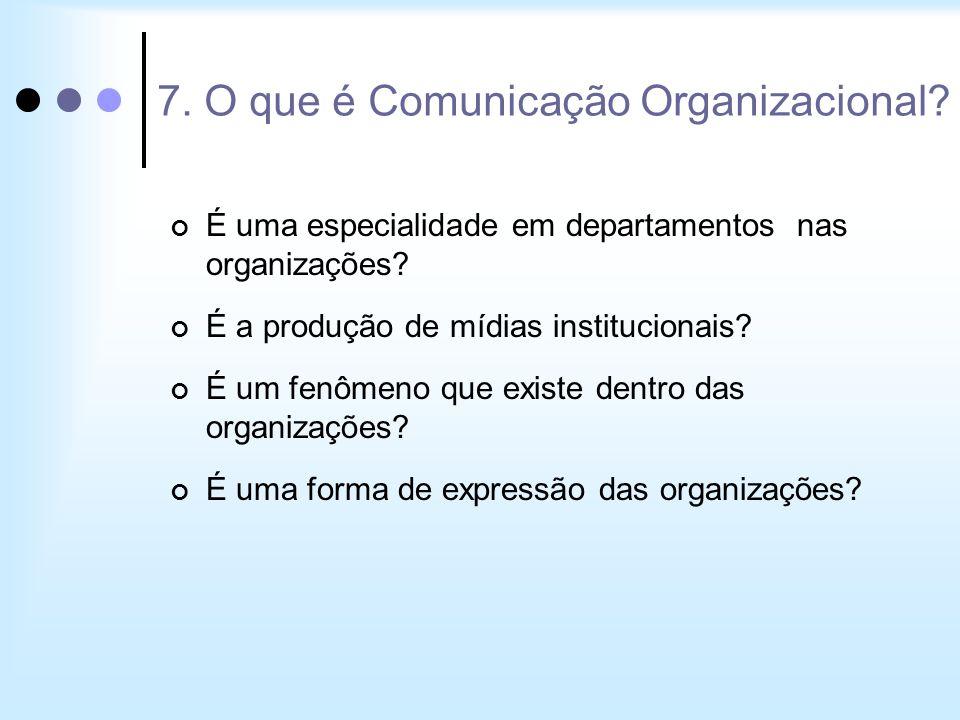 7. O que é Comunicação Organizacional? É uma especialidade em departamentos nas organizações? É a produção de mídias institucionais? É um fenômeno que