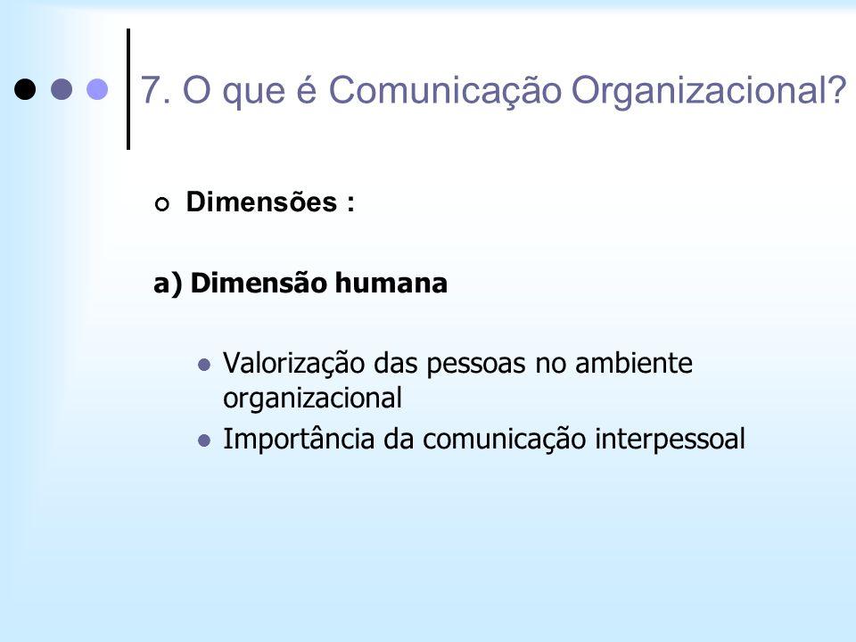Dimensões : a) Dimensão humana Valorização das pessoas no ambiente organizacional Importância da comunicação interpessoal 7. O que é Comunicação Organ