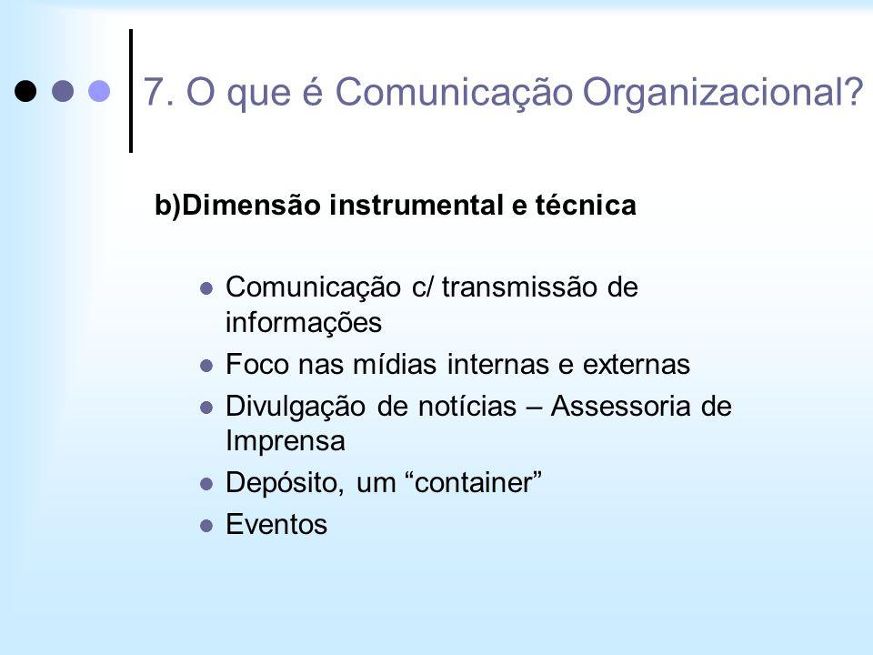 b)Dimensão instrumental e técnica Comunicação c/ transmissão de informações Foco nas mídias internas e externas Divulgação de notícias – Assessoria de