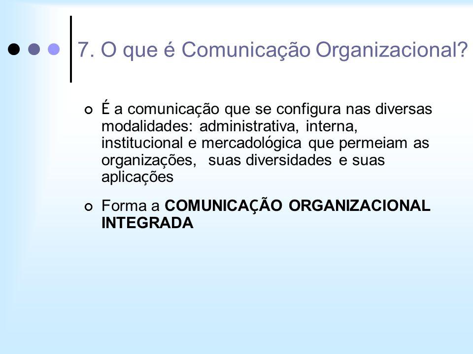 É a comunica ç ão que se configura nas diversas modalidades: administrativa, interna, institucional e mercadol ó gica que permeiam as organiza ç ões,