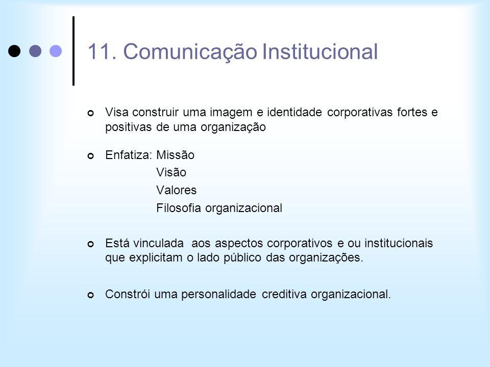 11. Comunicação Institucional Visa construir uma imagem e identidade corporativas fortes e positivas de uma organização Enfatiza: Missão Visão Valores