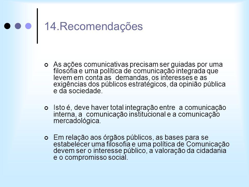 14.Recomendações As ações comunicativas precisam ser guiadas por uma filosofia e uma política de comunicação integrada que levem em conta as demandas,