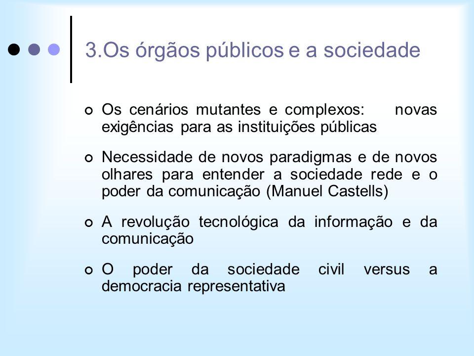3.Os órgãos públicos e a sociedade Os cenários mutantes e complexos: novas exigências para as instituições públicas Necessidade de novos paradigmas e
