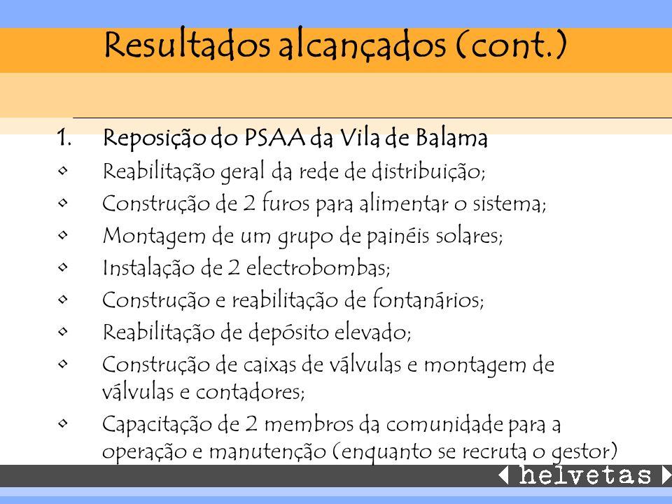 Resultados alcançados (cont.) 1.Reposição do PSAA da Vila de Balama Reabilitação geral da rede de distribuição; Construção de 2 furos para alimentar o