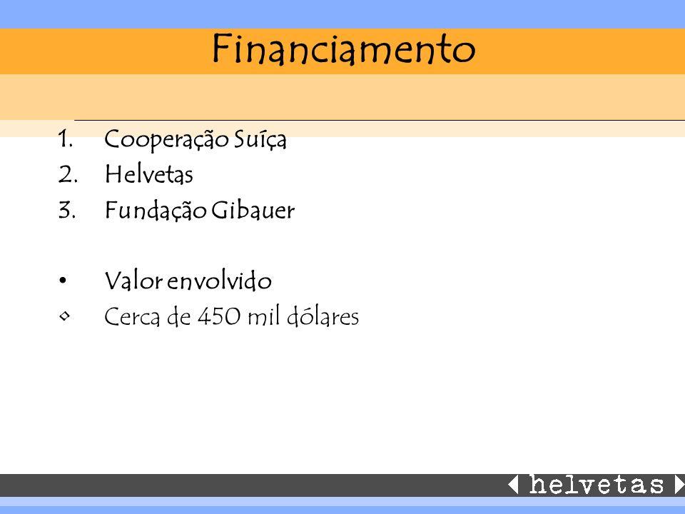 Financiamento 1.Cooperação Suíça 2.Helvetas 3.Fundação Gibauer Valor envolvido Cerca de 450 mil dólares