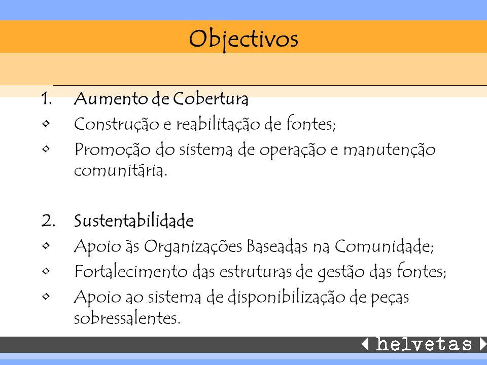 Objectivos 1.Aumento de Cobertura Construção e reabilitação de fontes; Promoção do sistema de operação e manutenção comunitária. 2.Sustentabilidade Ap