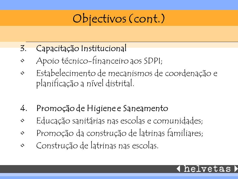 Objectivos (cont.) 3.Capacitação Institucional Apoio técnico-financeiro aos SDPI; Estabelecimento de mecanismos de coordenação e planificação a nível distrital.