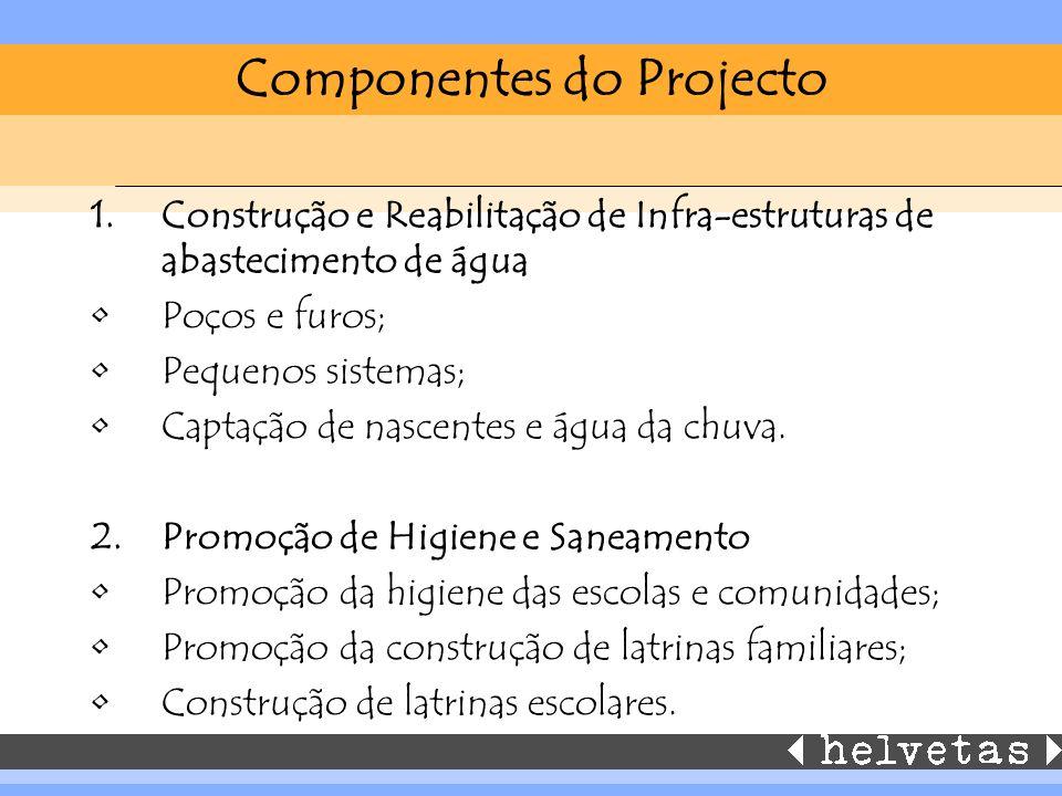 Componentes do Projecto 1.Construção e Reabilitação de Infra-estruturas de abastecimento de água Poços e furos; Pequenos sistemas; Captação de nascentes e água da chuva.