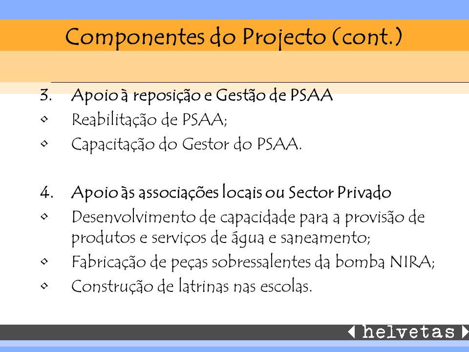 Componentes do Projecto (cont.) 3.Apoio à reposição e Gestão de PSAA Reabilitação de PSAA; Capacitação do Gestor do PSAA. 4.Apoio às associações locai