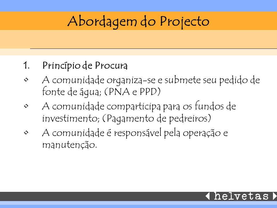 Abordagem do Projecto 1.Princípio de Procura A comunidade organiza-se e submete seu pedido de fonte de água; (PNA e PPD) A comunidade comparticipa para os fundos de investimento; (Pagamento de pedreiros) A comunidade é responsável pela operação e manutenção.