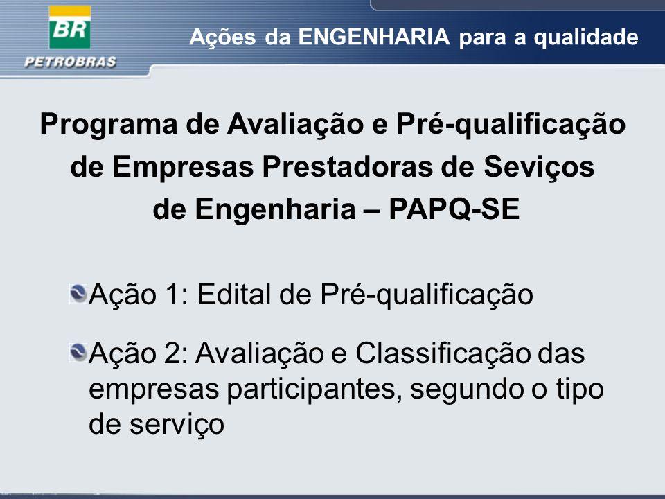 Programa de Avaliação e Pré-qualificação de Empresas Prestadoras de Seviços de Engenharia – PAPQ-SE Ação 1: Edital de Pré-qualificação Ação 2: Avaliação e Classificação das empresas participantes, segundo o tipo de serviço