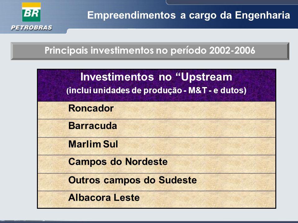 Empreendimentos a cargo da Engenharia Albacora Leste Outros campos do Sudeste Campos do Nordeste Marlim Sul Barracuda Roncador Investimentos no Upstream ( inclui unidades de produção - M&T - e dutos) Principais investimentos no período 2002-2006
