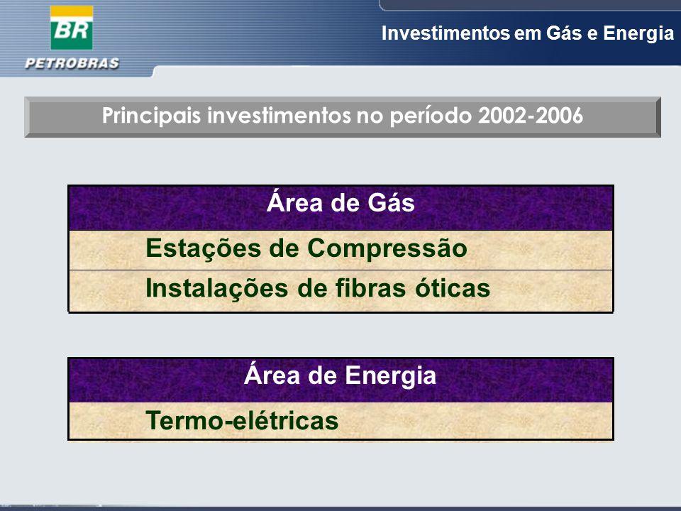 Investimentos em Gás e Energia Principais investimentos no período 2002-2006 Instalações de fibras óticas Estações de Compressão Área de Gás Termo-elétricas Área de Energia