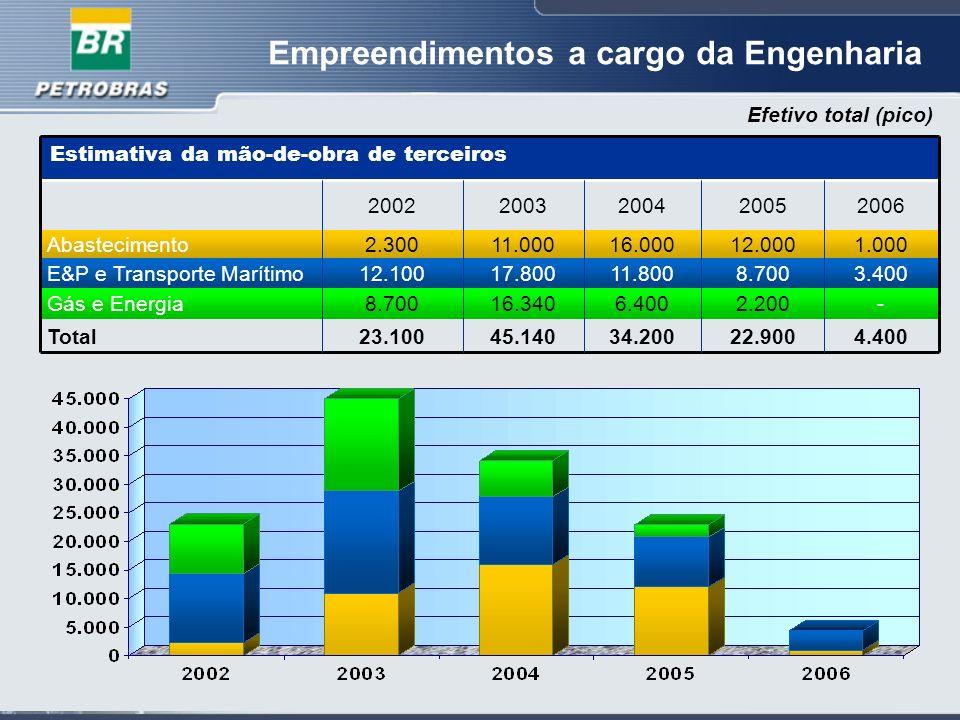Empreendimentos a cargo da Engenharia 4.400 - 3.400 1.000 2006 22.900 2.200 8.700 12.000 2005 34.200 6.400 11.800 16.000 2004 45.14023.100Total 16.3408.700Gás e Energia 17.80012.100E&P e Transporte Marítimo 11.0002.300Abastecimento 20032002 Estimativa da mão-de-obra de terceiros Efetivo total (pico)