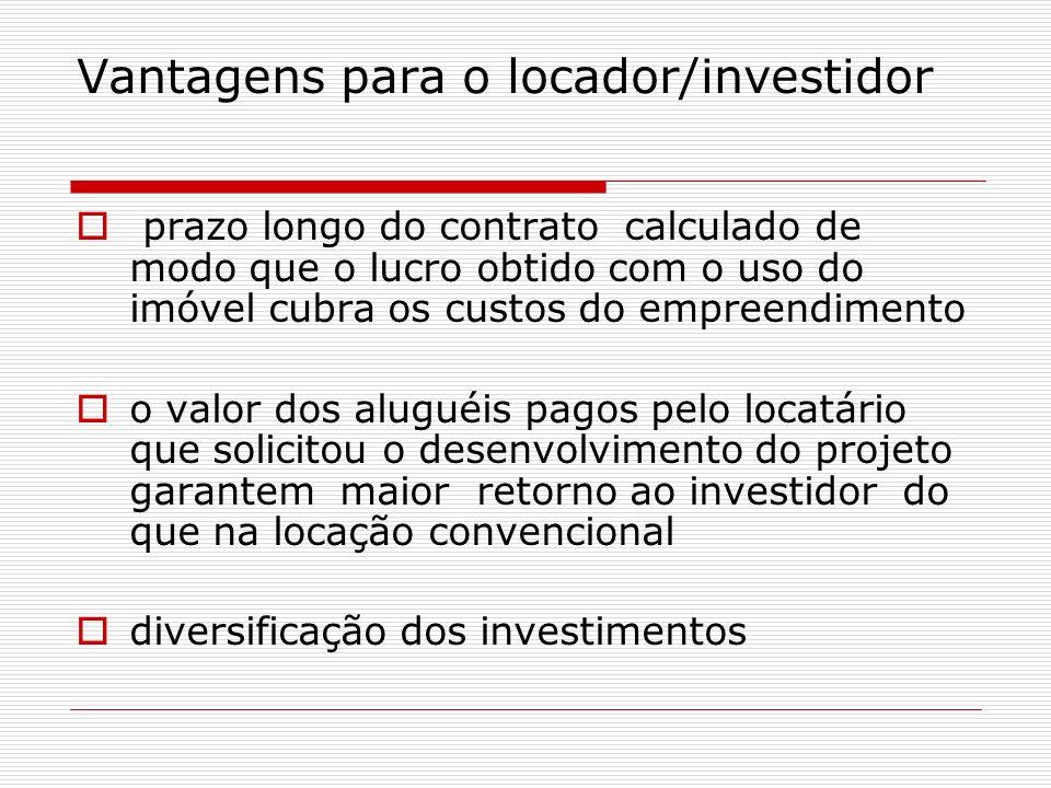 Vantagens para o locador/investidor prazo longo do contrato calculado de modo que o lucro obtido com o uso do imóvel cubra os custos do empreendimento