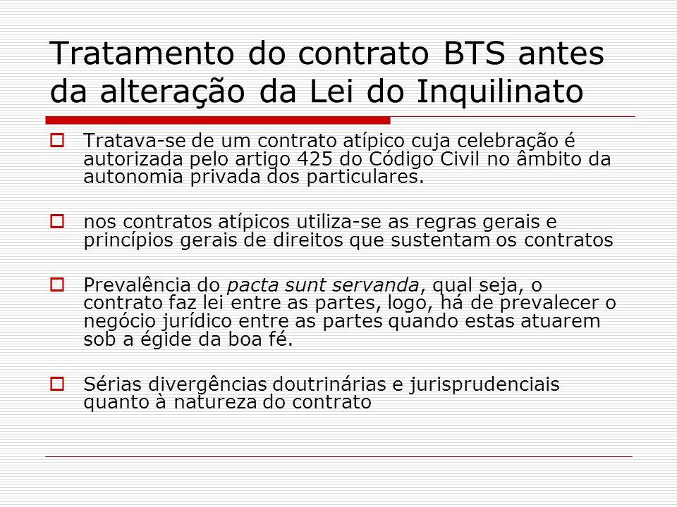 Tratamento do contrato BTS antes da alteração da Lei do Inquilinato Tratava-se de um contrato atípico cuja celebração é autorizada pelo artigo 425 do