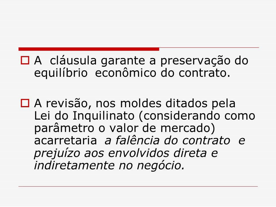 A cláusula garante a preservação do equilíbrio econômico do contrato. A revisão, nos moldes ditados pela Lei do Inquilinato (considerando como parâmet