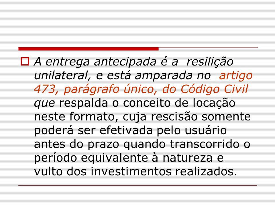 A entrega antecipada é a resilição unilateral, e está amparada no artigo 473, parágrafo único, do Código Civil que respalda o conceito de locação nest