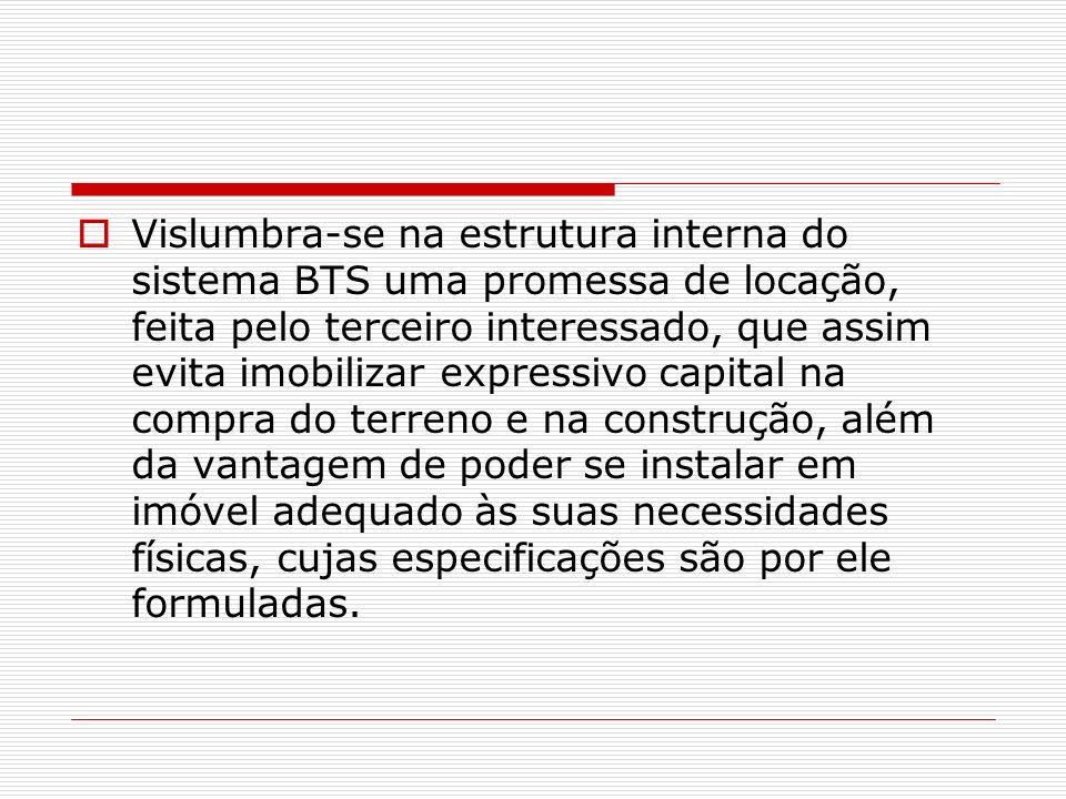 Vislumbra-se na estrutura interna do sistema BTS uma promessa de locação, feita pelo terceiro interessado, que assim evita imobilizar expressivo capit