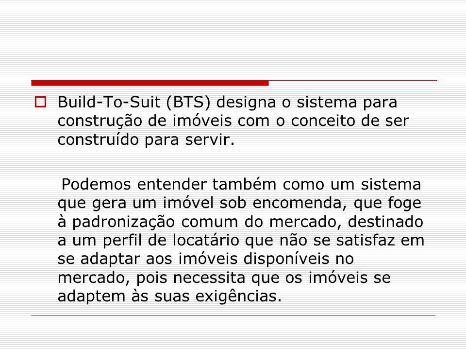 Build-To-Suit (BTS) designa o sistema para construção de imóveis com o conceito de ser construído para servir. Podemos entender também como um sistema