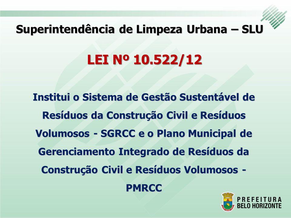 Superintendência de Limpeza Urbana – SLU LEI Nº 10.522/12 Institui o Sistema de Gestão Sustentável de Resíduos da Construção Civil e Resíduos Volumoso