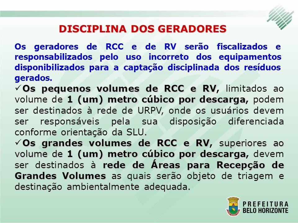 Os geradores de RCC e de RV serão fiscalizados e responsabilizados pelo uso incorreto dos equipamentos disponibilizados para a captação disciplinada d