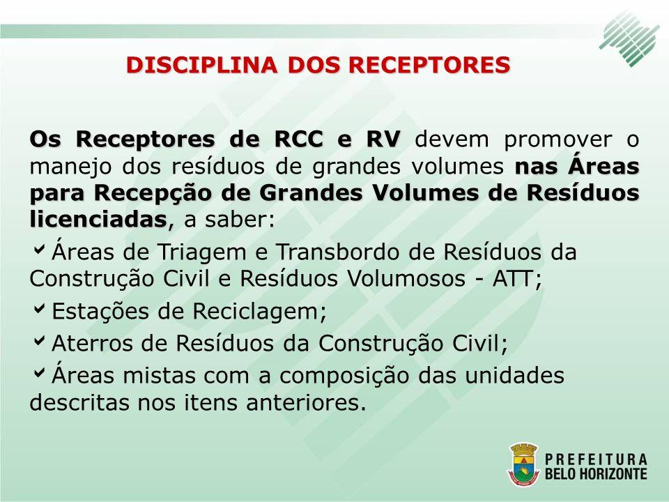 DISCIPLINA DOS RECEPTORES Os Receptores de RCC e RV nas Áreas para Recepção de Grandes Volumes de Resíduos licenciadas, Os Receptores de RCC e RV deve