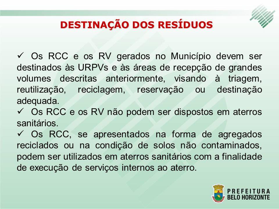 DESTINAÇÃO DOS RESÍDUOS Os RCC e os RV gerados no Município devem ser destinados às URPVs e às áreas de recepção de grandes volumes descritas anterior