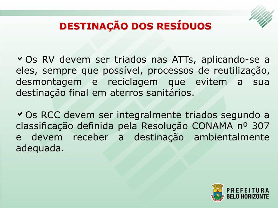 DESTINAÇÃO DOS RESÍDUOS Os RV devem ser triados nas ATTs, aplicando-se a eles, sempre que possível, processos de reutilização, desmontagem e reciclage