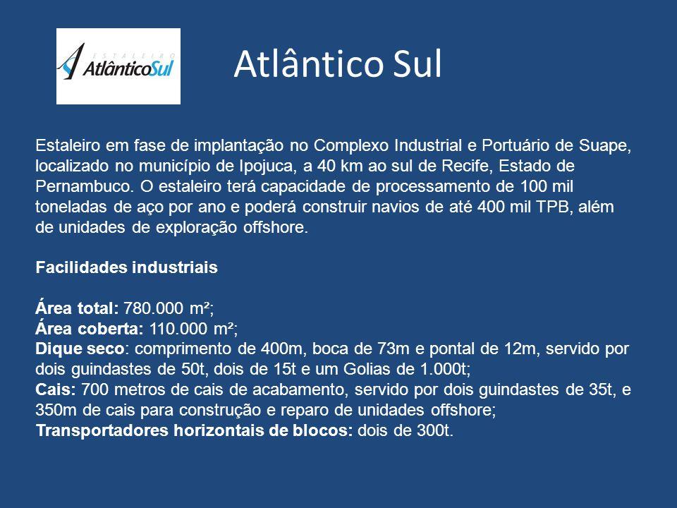 Atlântico Sul Estaleiro em fase de implantação no Complexo Industrial e Portuário de Suape, localizado no município de Ipojuca, a 40 km ao sul de Reci