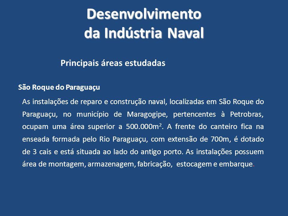 Desenvolvimento da Indústria Naval Principais áreas estudadas São Roque do Paraguaçu As instalações de reparo e construção naval, localizadas em São R