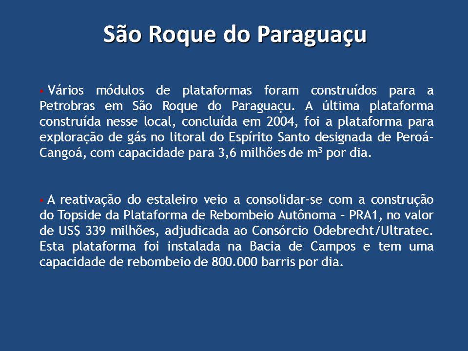 Vários módulos de plataformas foram construídos para a Petrobras em São Roque do Paraguaçu. A última plataforma construída nesse local, concluída em 2