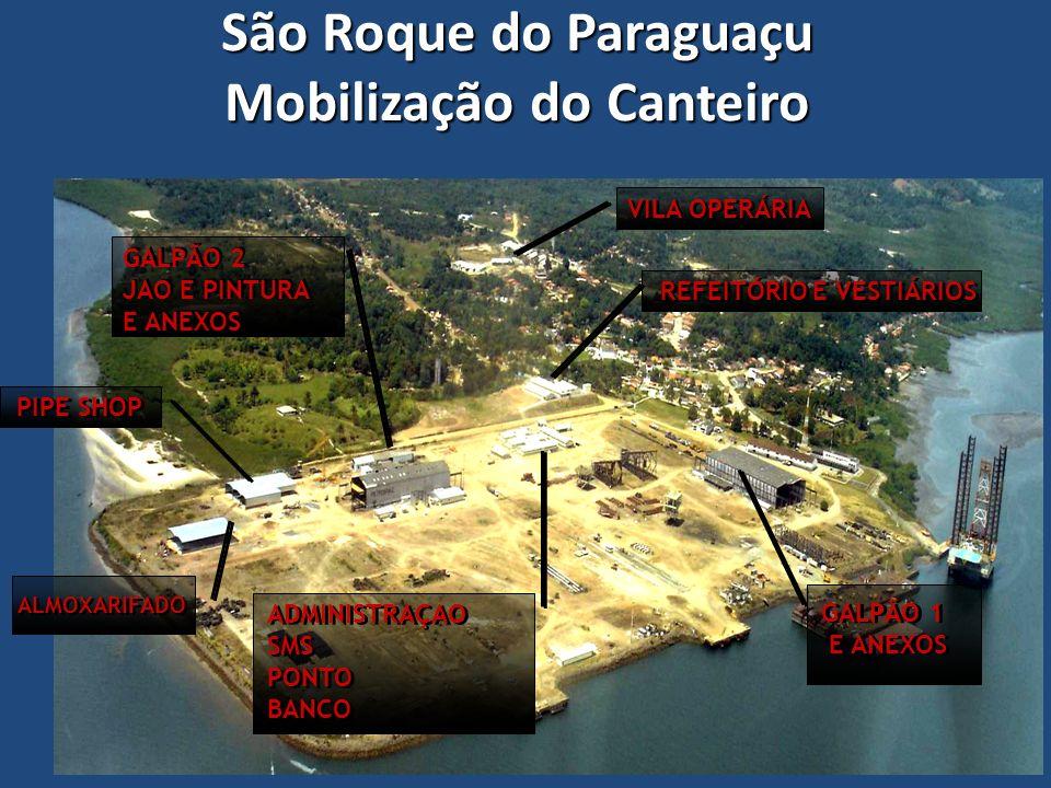 São Roque do Paraguaçu Mobilização do Canteiro PIPE SHOP GALPÃO 2 JAO E PINTURA E ANEXOS GALPÃO 2 JAO E PINTURA E ANEXOS ALMOXARIFADO VILA OPERÁRIA RE
