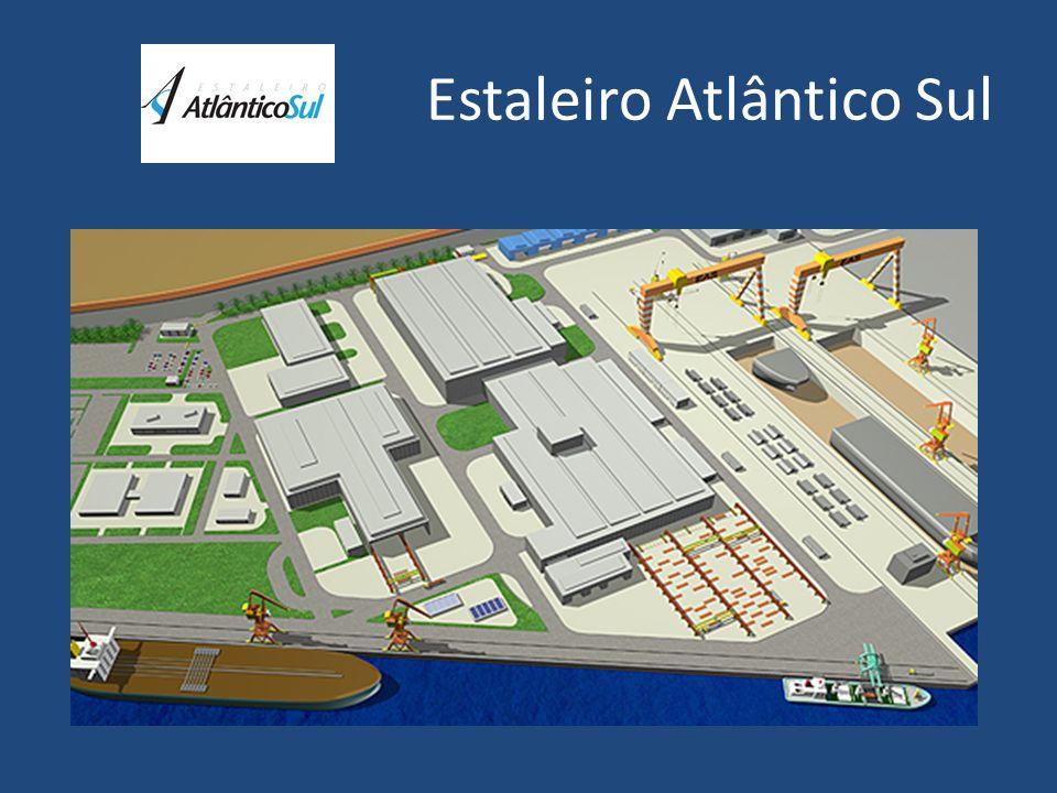 Atlântico Sul Estaleiro em fase de implantação no Complexo Industrial e Portuário de Suape, localizado no município de Ipojuca, a 40 km ao sul de Recife, Estado de Pernambuco.