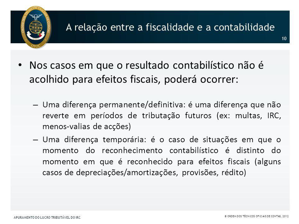 A relação entre a fiscalidade e a contabilidade Nos casos em que o resultado contabilístico não é acolhido para efeitos fiscais, poderá ocorrer: – Uma