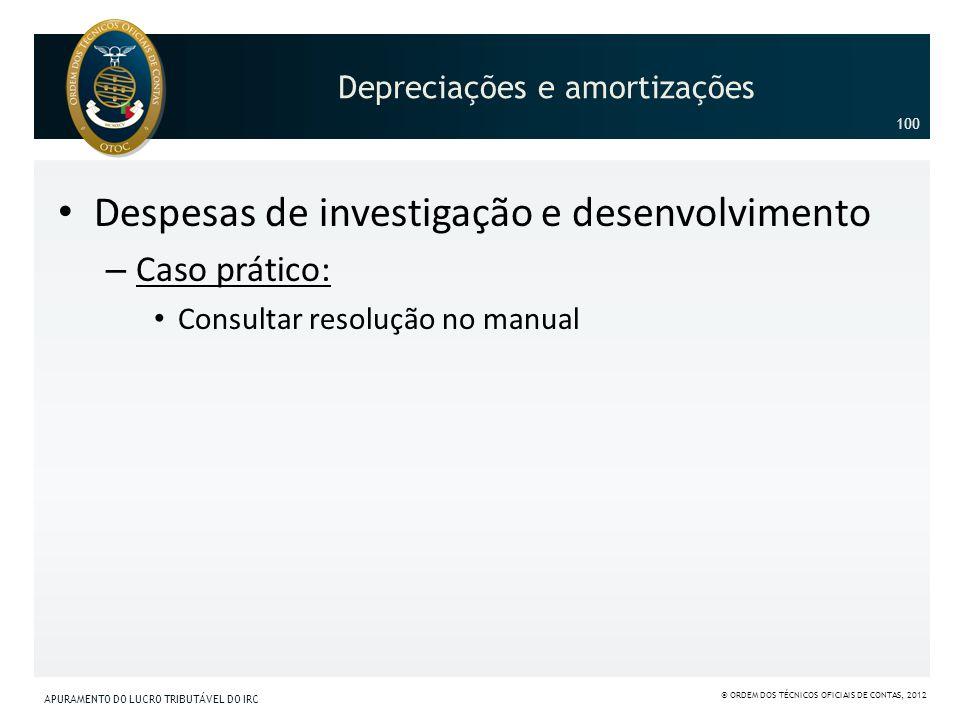 Despesas de investigação e desenvolvimento – Caso prático: Consultar resolução no manual 100 Depreciações e amortizações APURAMENTO DO LUCRO TRIBUTÁVE