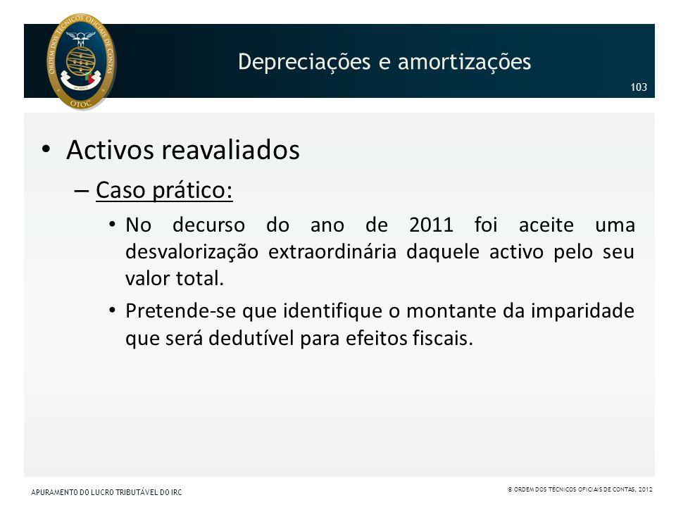 Activos reavaliados – Caso prático: No decurso do ano de 2011 foi aceite uma desvalorização extraordinária daquele activo pelo seu valor total. Preten