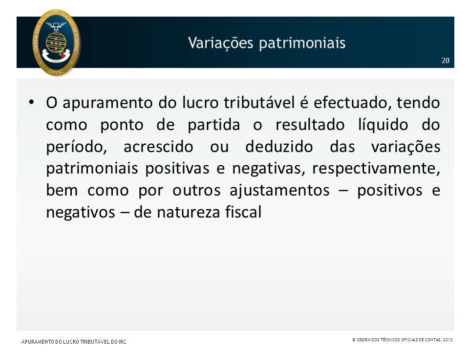 Variações patrimoniais O apuramento do lucro tributável é efectuado, tendo como ponto de partida o resultado líquido do período, acrescido ou deduzido