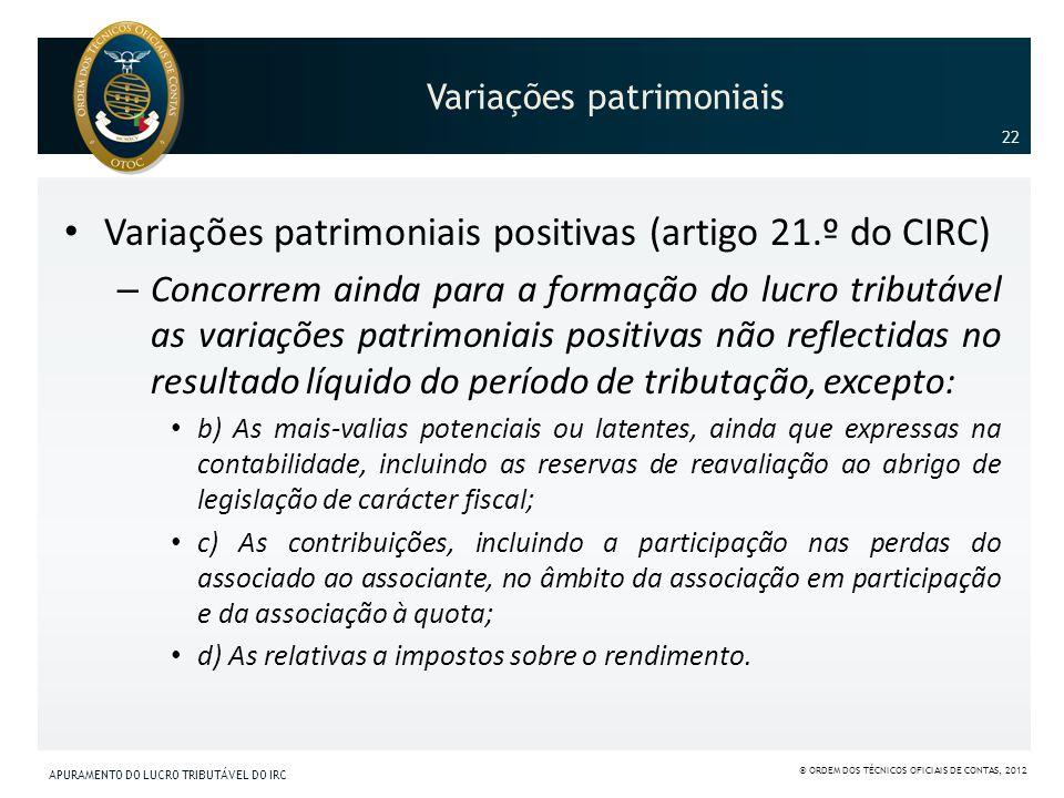 Variações patrimoniais Variações patrimoniais positivas (artigo 21.º do CIRC) – Concorrem ainda para a formação do lucro tributável as variações patri