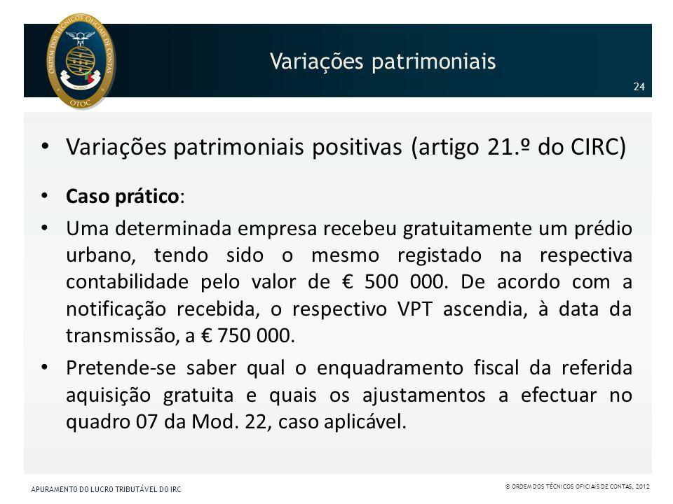 Variações patrimoniais Variações patrimoniais positivas (artigo 21.º do CIRC) Caso prático: Uma determinada empresa recebeu gratuitamente um prédio ur