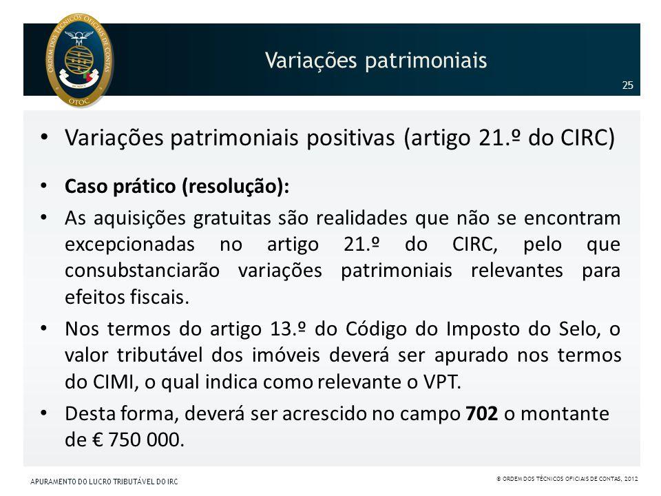 Variações patrimoniais Variações patrimoniais positivas (artigo 21.º do CIRC) Caso prático (resolução): As aquisições gratuitas são realidades que não