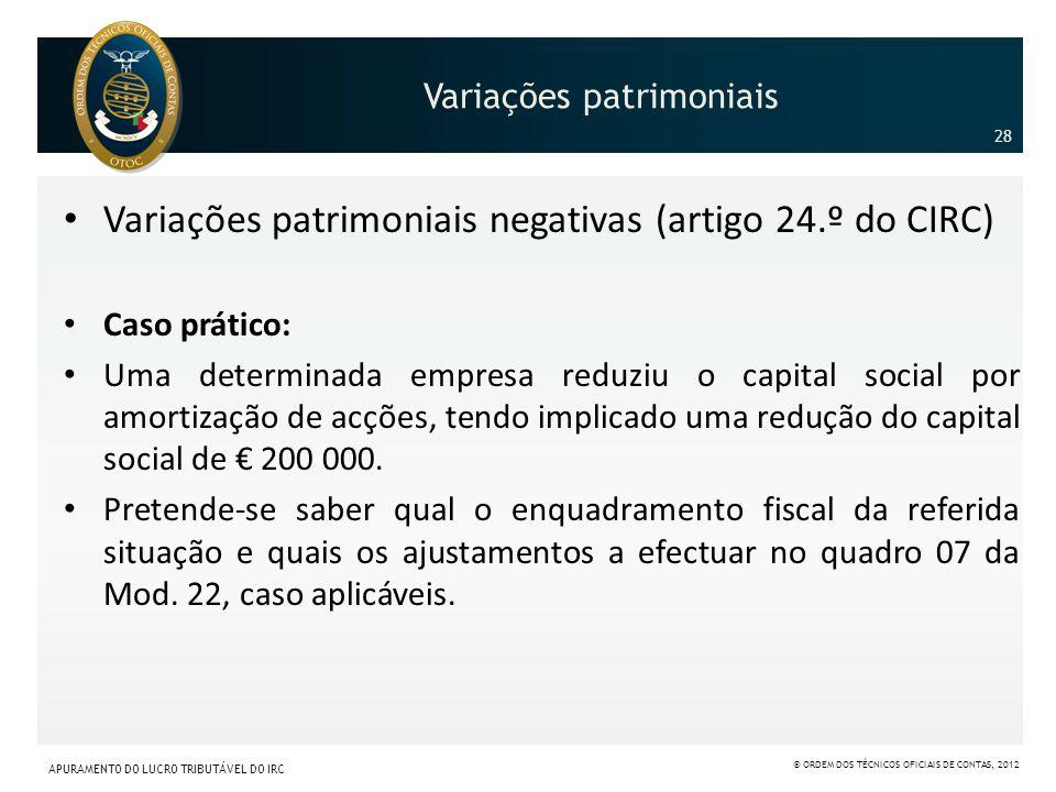 Variações patrimoniais Variações patrimoniais negativas (artigo 24.º do CIRC) Caso prático: Uma determinada empresa reduziu o capital social por amort