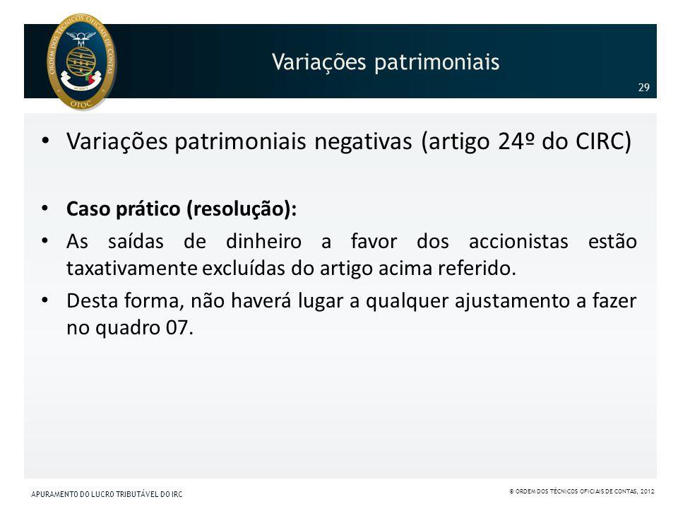 Variações patrimoniais Variações patrimoniais negativas (artigo 24º do CIRC) Caso prático (resolução): As saídas de dinheiro a favor dos accionistas e
