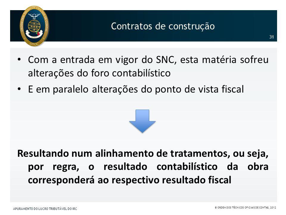 Contratos de construção Com a entrada em vigor do SNC, esta matéria sofreu alterações do foro contabilístico E em paralelo alterações do ponto de vist