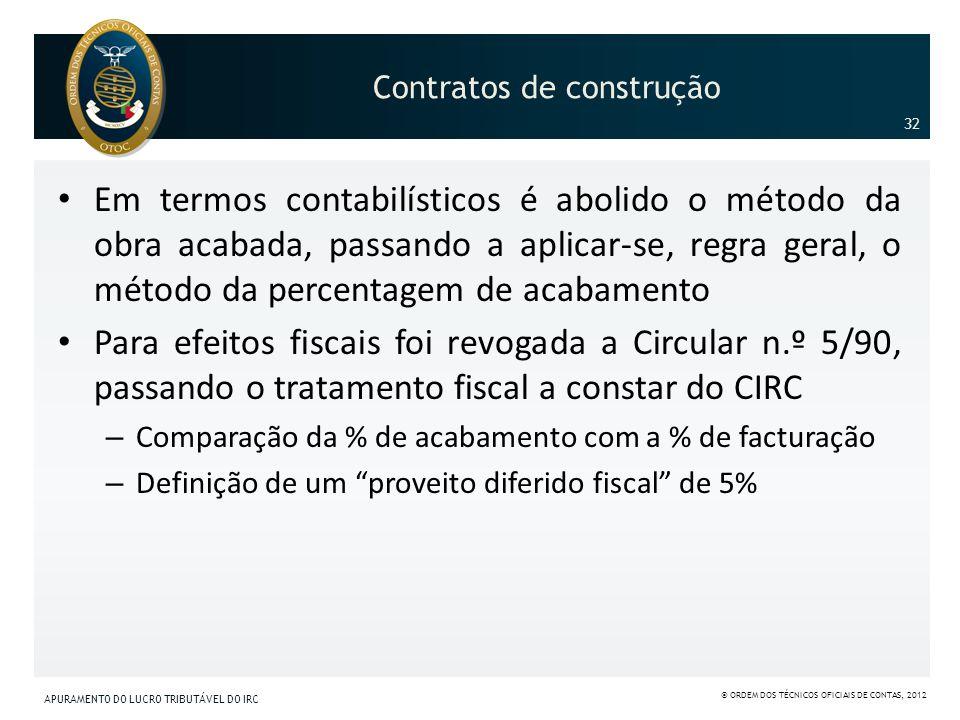 Contratos de construção Em termos contabilísticos é abolido o método da obra acabada, passando a aplicar-se, regra geral, o método da percentagem de a