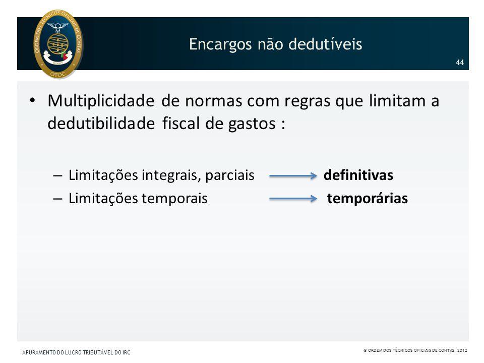 Encargos não dedutíveis Multiplicidade de normas com regras que limitam a dedutibilidade fiscal de gastos : – Limitações integrais, parciais definitiv