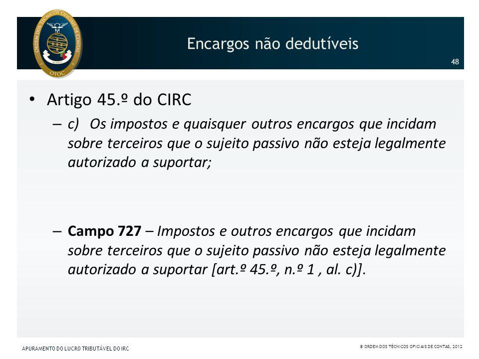 Encargos não dedutíveis Artigo 45.º do CIRC – c) Os impostos e quaisquer outros encargos que incidam sobre terceiros que o sujeito passivo não esteja