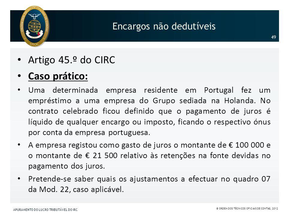 Encargos não dedutíveis Artigo 45.º do CIRC Caso prático: Uma determinada empresa residente em Portugal fez um empréstimo a uma empresa do Grupo sedia