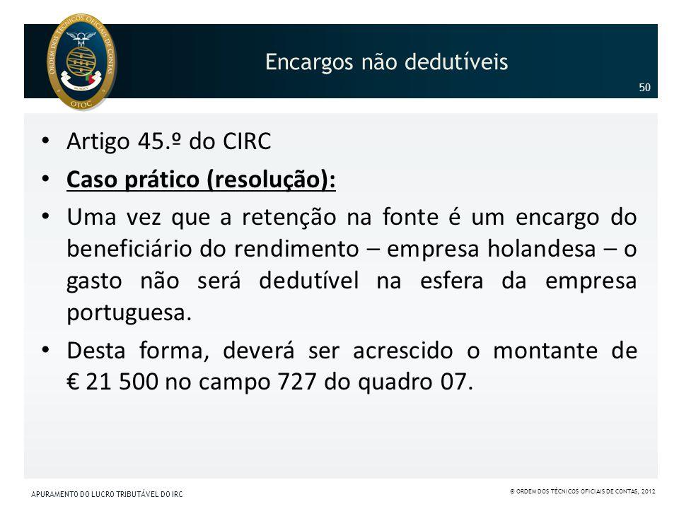 Encargos não dedutíveis Artigo 45.º do CIRC Caso prático (resolução): Uma vez que a retenção na fonte é um encargo do beneficiário do rendimento – emp